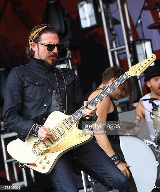 Musician Scott Holliday of Rival Sons performs at MAPFRE Stadium on May 17 2015 in Columbus Ohio