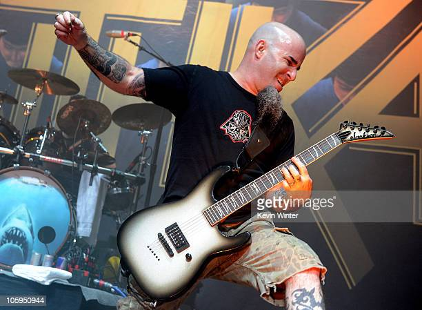 Musician Scott Ian of Anthrax performs at the Gibson Amphitheatre on October 21 2010 in Universal City California