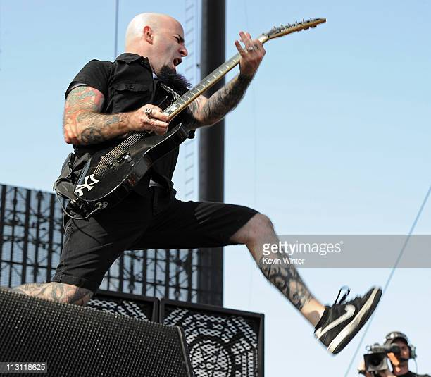 Musician Scott Ian of Anthrax performs onstage during The Big 4 held at the Empire Polo Club on April 23 2011 in Indio California