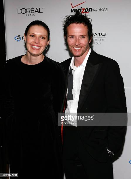 Musician Scott Weiland and wife Mary Forsberg arrive at the Clive Davis preGrammy party held at the Beverly Hilton on February 10 2007 in Beverly...