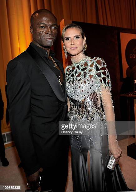 Musician Seal and actress Heidi Klum attend the 19th Annual Elton John AIDS Foundation Academy Awards Viewing Party at the Pacific Design Center on...