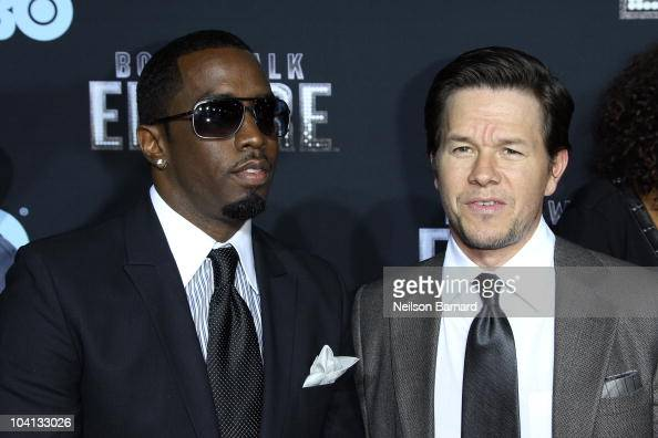 Musician Sean Combs and actor Mark Wahlberg attend the premiere of 'Boardwalk Empire' at the Ziegfeld Theatre on September 15 2010 in New York City