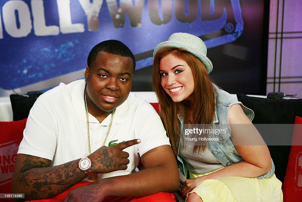 Musician Sean Kingston and host Kinsey Schofield at the Young Hollywood Studio on May 23 2012 in Los Angeles California