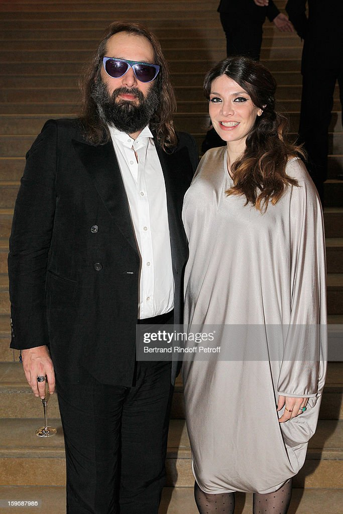 Musician <a gi-track='captionPersonalityLinkClicked' href=/galleries/search?phrase=Sebastien+Tellier&family=editorial&specificpeople=4946466 ng-click='$event.stopPropagation()'>Sebastien Tellier</a> (L) and his wife Amandine de La Richardiere attend the GQ Men of the year awards 2012 at Musee d'Orsay on January 16, 2013 in Paris, France.
