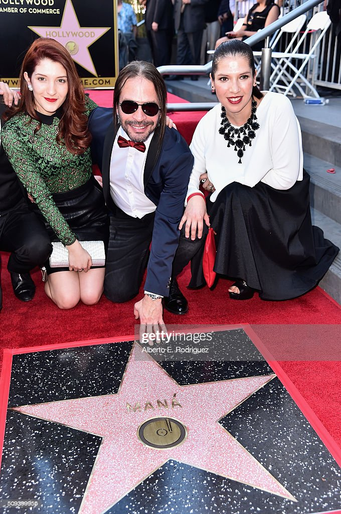 Musician Sergio Vallin (C) attends a ceremony honoring Maná with the 2,573rd Star on the Hollywood Walk of Fame on February 10, 2016 in Hollywood, California.