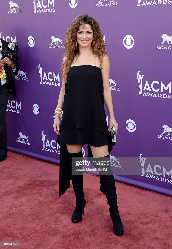 Musician Shania Twain arrives at the 48th Annual Academy of Country Music Awards at the MGM Grand Garden Arena on April 7, 2013 in Las Vegas, Nevada.