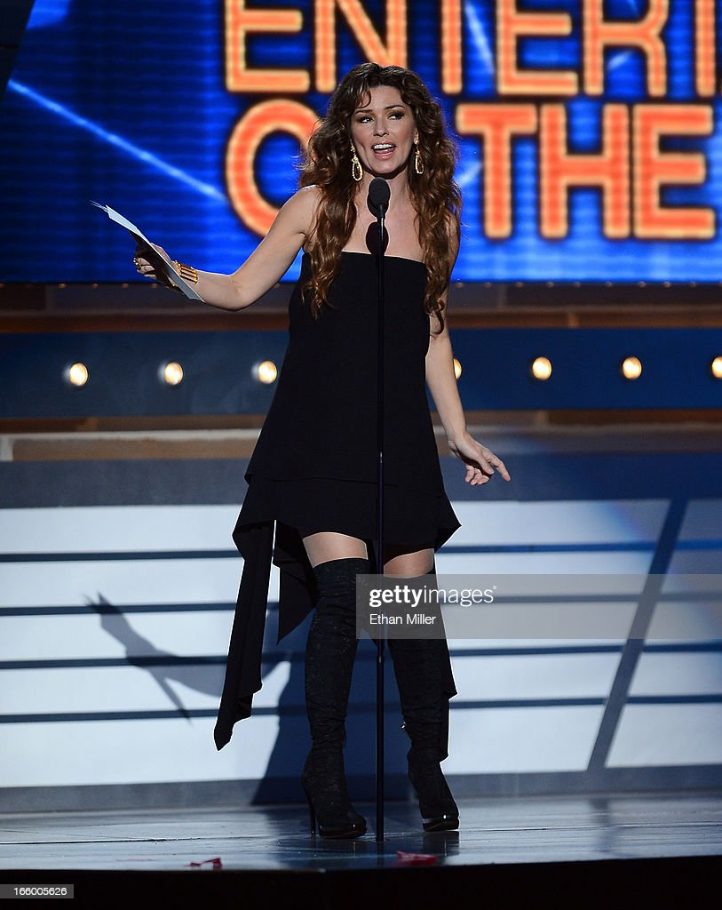 Musician Shania Twain speaks onstage during the 48th Annual Academy of Country Music Awards at the MGM Grand Garden Arena on April 7, 2013 in Las Vegas, Nevada.