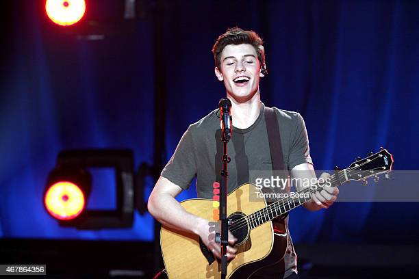 Musician Shawn Mendes performs during the iHeartRadio Music Awards Fan Army Nominee Celebration Presented By Taco Bell held at the iHeartRadio...