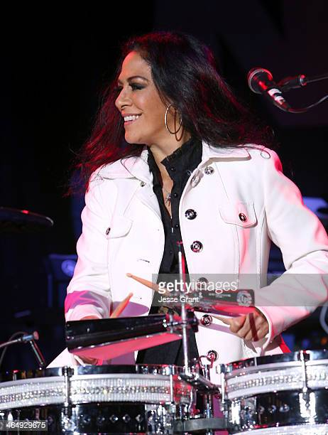 Musician Sheila E attends the 2014 National Association of Music Merchants show at the Anaheim Convention Center on January 24 2014 in Anaheim...