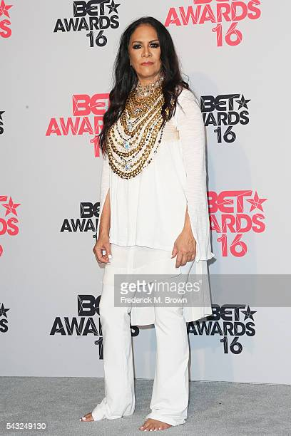 Musician Sheila E poses in the press room during the 2016 BET Awards at the Microsoft Theater on June 26 2016 in Los Angeles California
