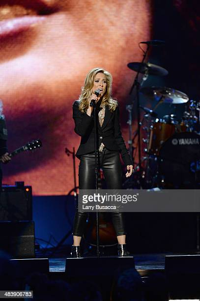 Musician Sheryl Crow performs onstage at the 29th Annual Rock And Roll Hall Of Fame Induction Ceremony at Barclays Center of Brooklyn on April 10...