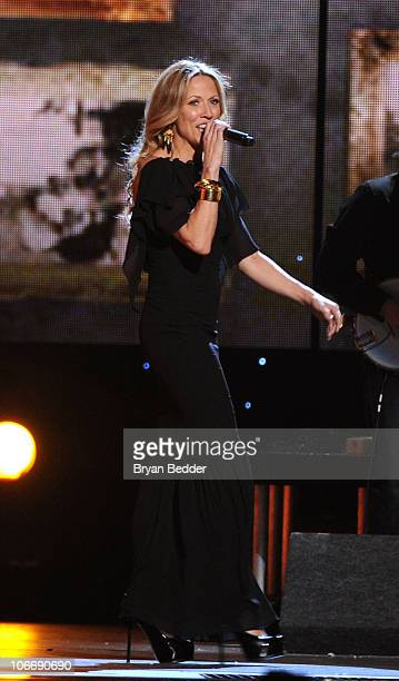 Musician Sheryl Crow performs onstage at the 44th Annual CMA Awards at the Bridgestone Arena on November 10 2010 in Nashville Tennessee