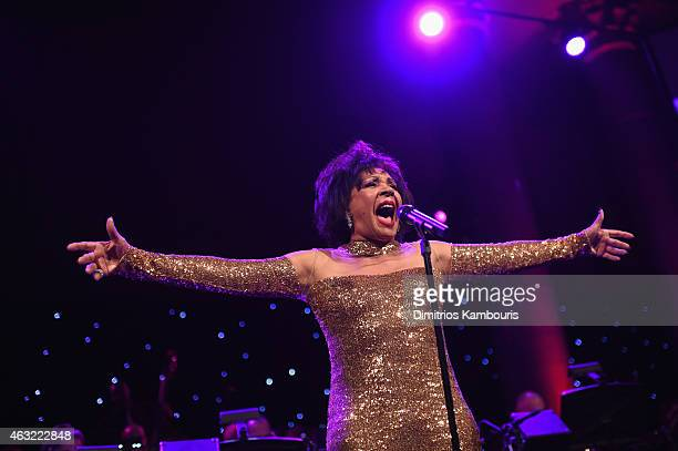 Musician Shirley Bassey performs onstage at the 2015 amfAR New York Gala at Cipriani Wall Street on February 11 2015 in New York City