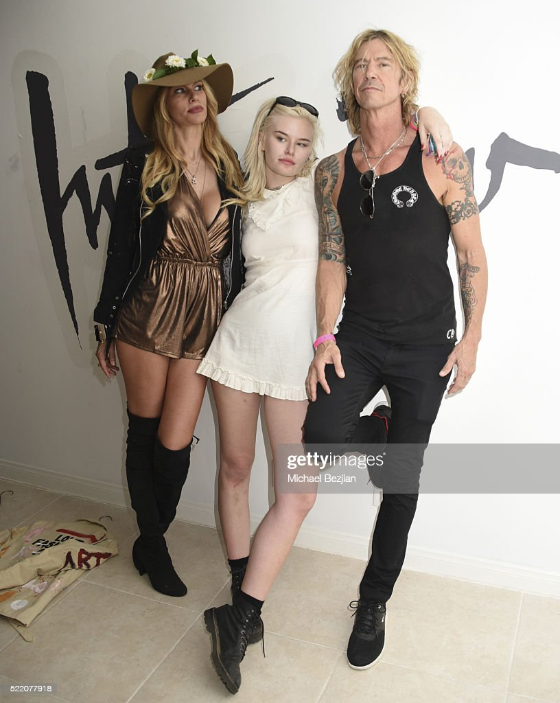Musician, singer, songwriter and author Duff McKagan (R), model, television personality, and fashion designer Susan Holmes-Mckagan (L) and singer Grace 'Grave' McKagan (M) at Paradise House Presented By Interview Hosted By Susan Holmes-McKagan on April 17, 2016 in Palm Springs, California.