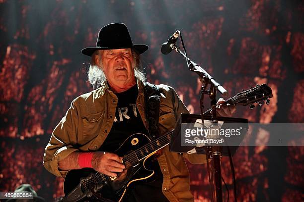 Musician Singer Songwriter and Producer Neil Young performs at FirstMerit Bank Pavilion at Northerly Island during 'Farm Aid 30' on September 19 2015...