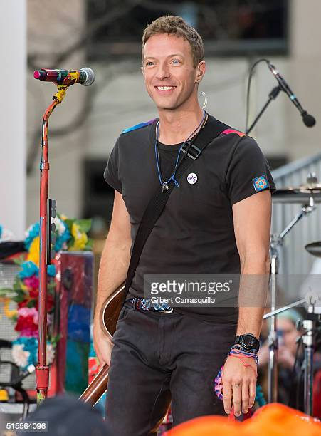 Musician singer songwriter lead vocalist Chris Martin of the band Coldplay performs On NBC's 'Today' at Rockefeller Plaza on March 14 2016 in New...