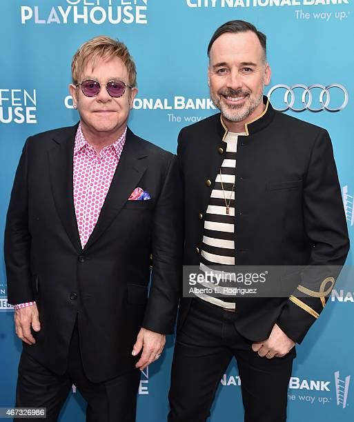 Musician Sir Elton John and David Furnish attend The Geffen Playhouse's 'Backstage at the Geffen' Gala at The Geffen Playhouse on March 22 2015 in...