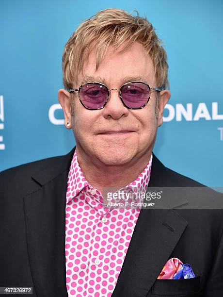 Musician Sir Elton John attends The Geffen Playhouse's 'Backstage at the Geffen' Gala at The Geffen Playhouse on March 22 2015 in Los Angeles...