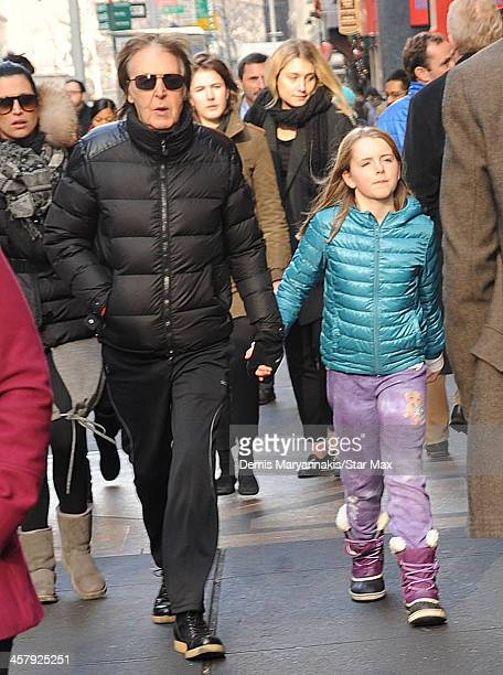 Musician Sir Paul McCartney and his daughter Beatrice McCartney are seen on December 19 2013 in New York City