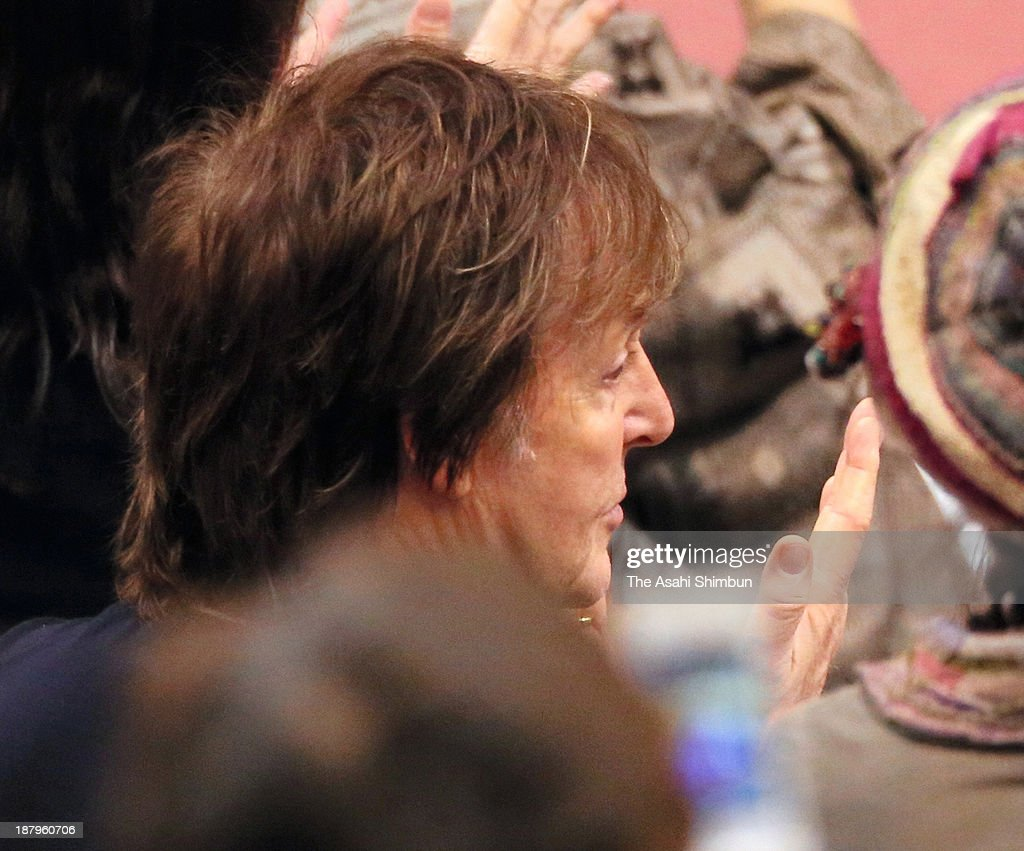 Musician Sir Paul McCartney is seen during day five of the Grand Sumo Kyushu Tournament at Fukuoka Convention Center on November 14 2013 in Fukuoka...