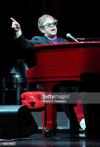 Musician Sire Elton John performs onstage during Touchstone Pictures' 'Gnomeo And Juliet' after party at the El Capitan Theatre on January 23 2011 in...
