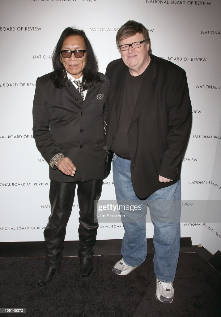 Musician Sixto Rodriguez and filmmaker Michael Moore attend the 2013 National Board Of Review Awards Gala at Cipriani Wall Street on January 8, 2013 in New York City.