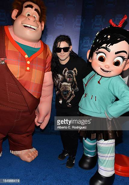 Musician Skrillex arrives at Walt Disney Animation Studios' 'WreckIt Ralph' premiere at the El Capitan Theatre on October 29 2012 in Hollywood...