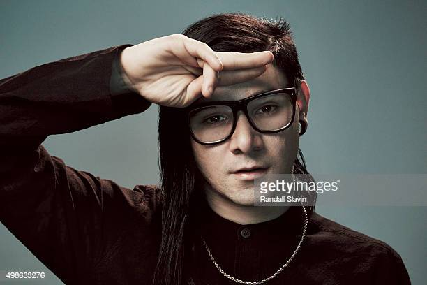 Musician Skrillex poses for a portrait at the 2015 American Music Awards on November 22 2015 in Los Angeles California