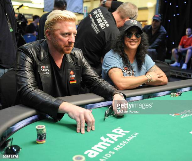 Musician Slash and tennis champion Boris Becker play in the amfAR Pokerstars Celebrity Charity Poker Tournament at Atlantis Paradise Island on...
