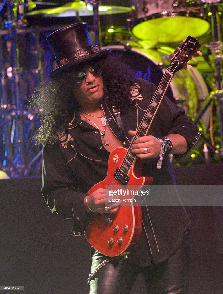 Musician Slash performs onstage with Motorhead during day 3 of the 2014 Coachella Valley Music Arts Festival at the Empire Polo Club on April 13 2014...