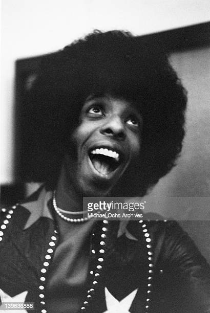 Musician Sly Stone of the psychedelic soul group 'Sly And The Family Stone' poses for a portrait in the studio on April 3 1973 in San Francisco...