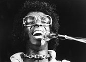 Musician Sly Stone of the psychedelic soul group 'Sly And The Family Stone' performs at the 1969 Woodstock Festival on August 17 1969 in Bethel New...