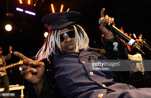 Musician Sly Stone performs during day 3 of the Coachella Valley Music Art Festival 2010 held at The Empire Polo Club on April 18 2010 in Indio...