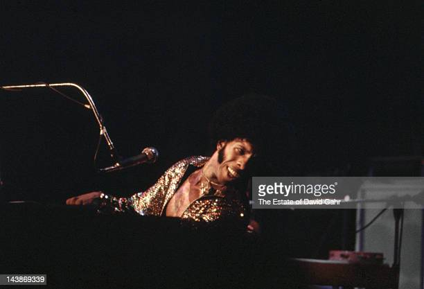 Musician Sly Stone performs with the Family Stone at Madison Square Garden on June 5 1974 in New York City New York During the concert Sly married...