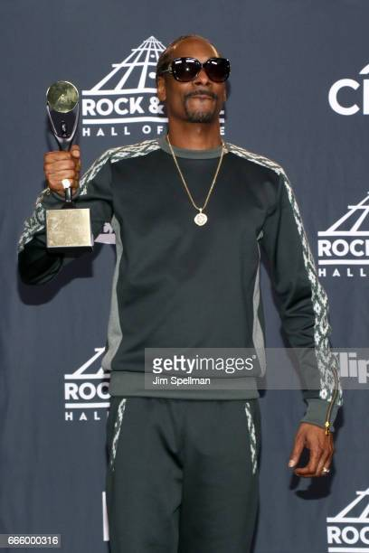 Musician Snoop Dogg attends the Press Room of the 32nd Annual Rock Roll Hall Of Fame Induction Ceremony at Barclays Center on April 7 2017 in New...