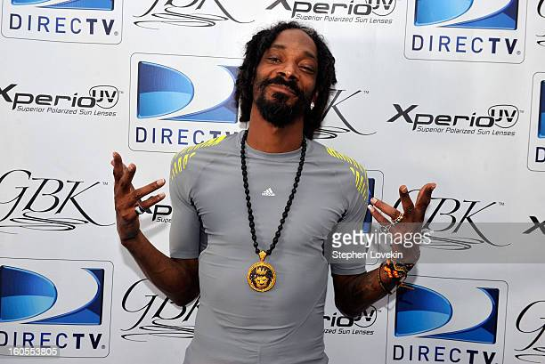 Musician Snoop Lion attends GBK and DirecTV Celebrity Beach Bowl Thank You Lounge at DTV SuperFan Stadium at Mardi Gras World on February 2 2013 in...