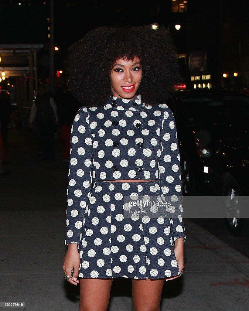 Musician Solange arrives at 'Late Show with David Letterman' at Ed Sullivan Theater on February 26, 2013 in New York City.