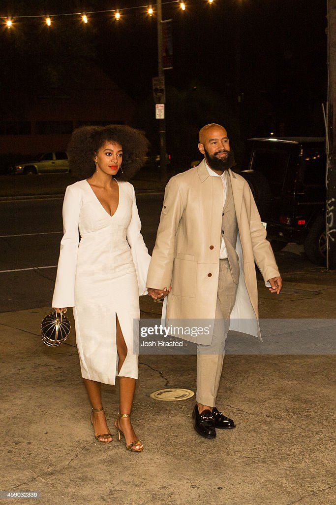 Musician Solange Knowles and her fiancee music video director Alan Ferguson are seen outside the Indywood Cinema on November 14 2014 in New Orleans...