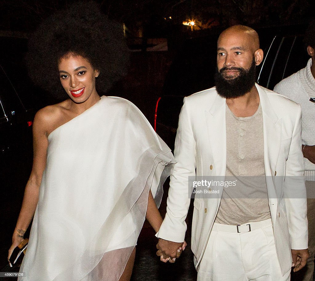 MANDATORY CAPTION Musician Solange Knowles and her fiancee music video director Alan Ferguson arrive for their rehearsal dinner at the Felicity...
