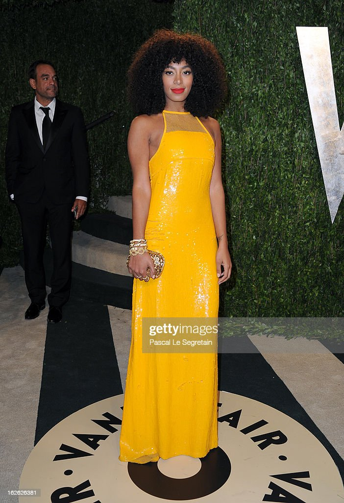 Musician Solange Knowles arrives at the 2013 Vanity Fair Oscar Party hosted by Graydon Carter at Sunset Tower on February 24, 2013 in West Hollywood, California.