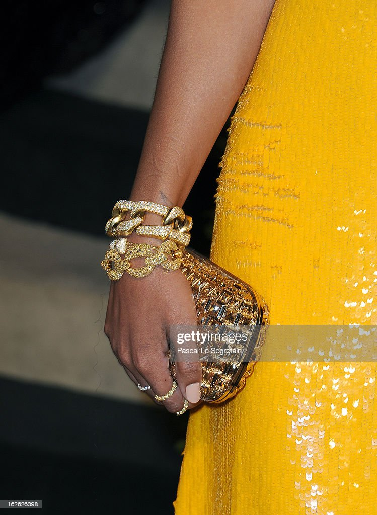 Musician Solange Knowles (clutch detail) arrives at the 2013 Vanity Fair Oscar Party hosted by Graydon Carter at Sunset Tower on February 24, 2013 in West Hollywood, California.