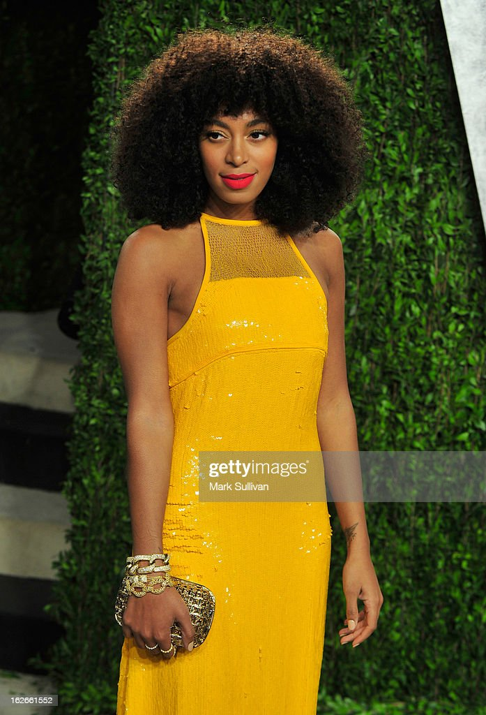 Musician Solange Knowles arrives at the 2013 Vanity Fair Oscar Party at Sunset Tower on February 24, 2013 in West Hollywood, California.