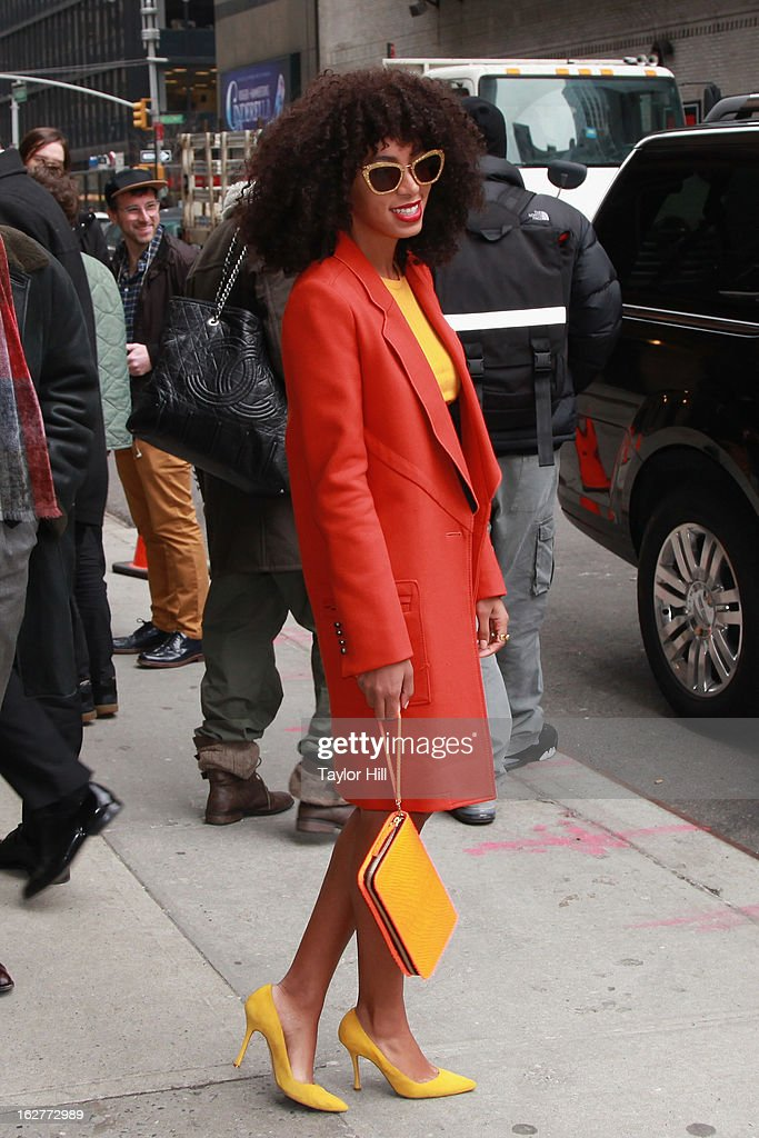 Musician Solange Knowles leaves rehearsals for 'Late Show with David Letterman' at Ed Sullivan Theater on February 26, 2013 in New York City.