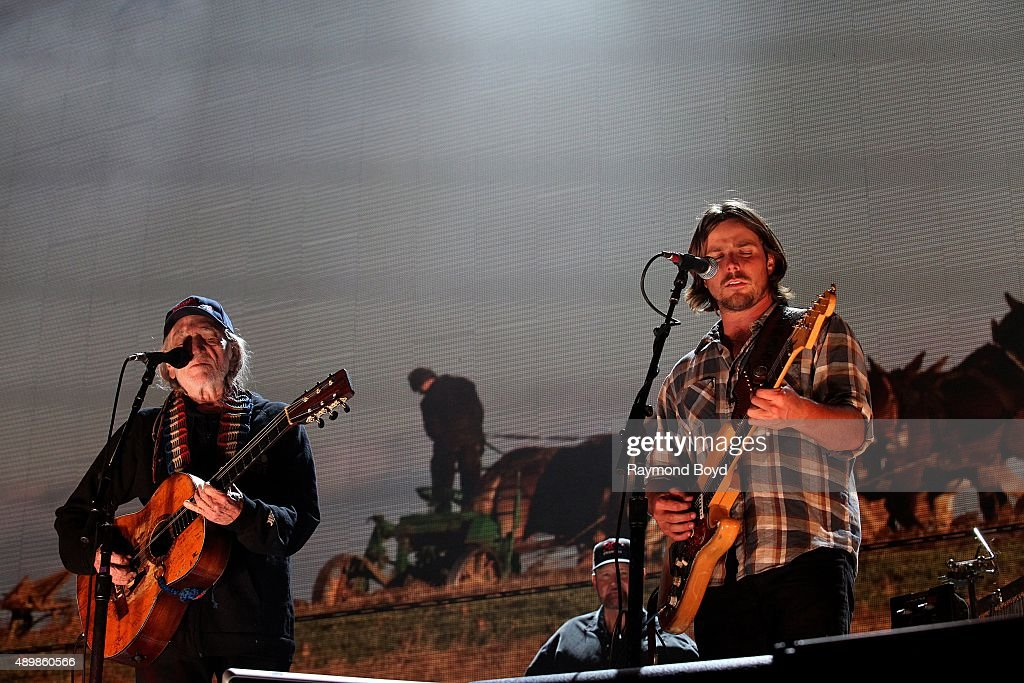 Musician Songwriter and Singer Willie Nelson and his son Lukas Nelson performs at FirstMerit Bank Pavilion at Northerly Island during 'Farm Aid 30'...