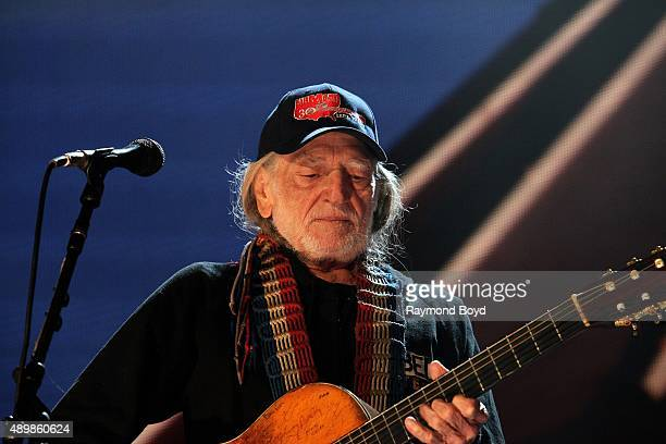 Musician Songwriter and Singer Willie Nelson performs at FirstMerit Bank Pavilion at Northerly Island during 'Farm Aid 30' on September 19 2015 in...