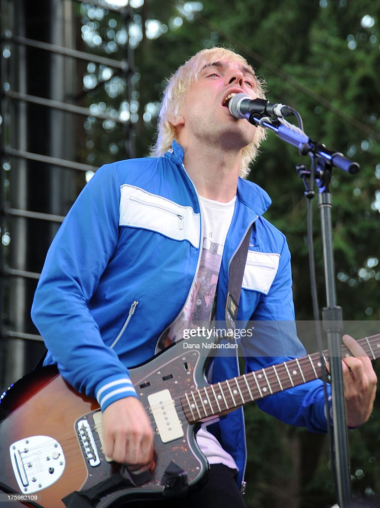 Musician <a gi-track='captionPersonalityLinkClicked' href=/galleries/search?phrase=Soren+Hansen+-+Musician&family=editorial&specificpeople=15283029 ng-click='$event.stopPropagation()'>Soren Hansen</a> of New Politics performs at The End Summer Camp at Marymoor Amphitheater on August 10, 2013 in Redmond, Washington.