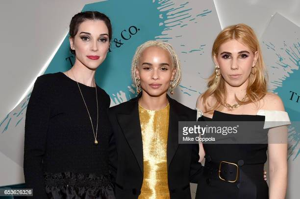 Musician St Vincent and Actors Zoe Kravitz and Zosia Mamet attend the Tiffany Co present the Whitney Biennial VIP Opening at The Whitney Museum of...