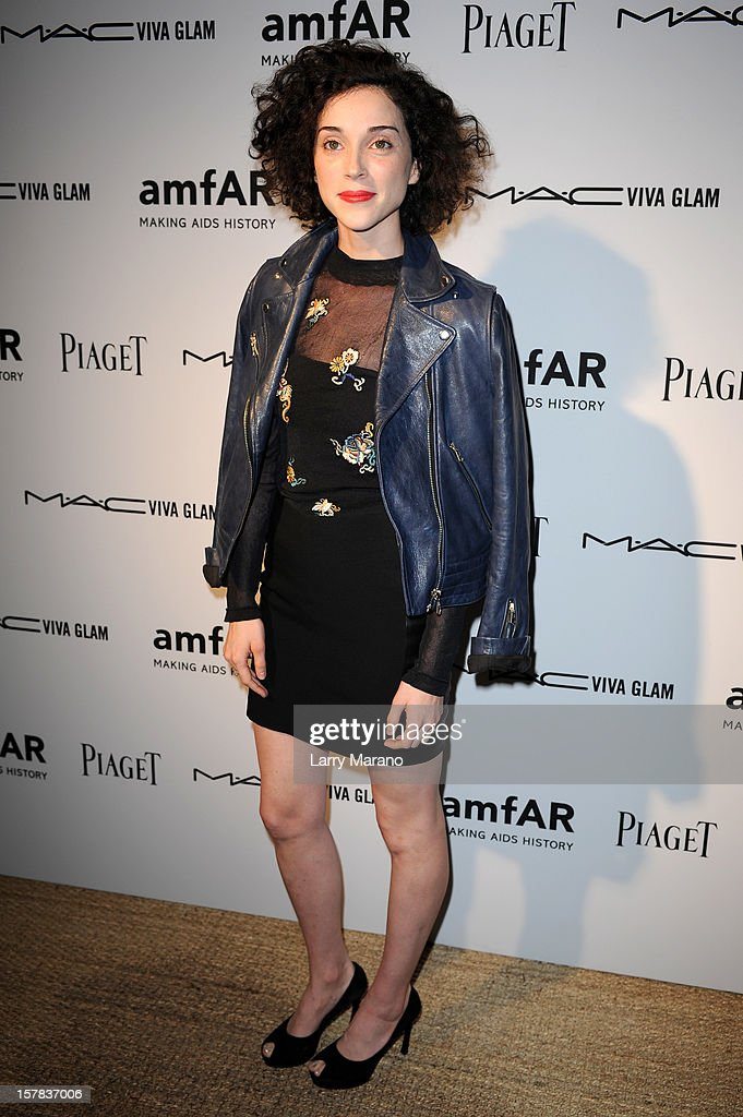 Musician St. Vincent attends the amfAR Inspiration Miami Beach Party at Soho Beach House on December 6, 2012 in Miami Beach, Florida.