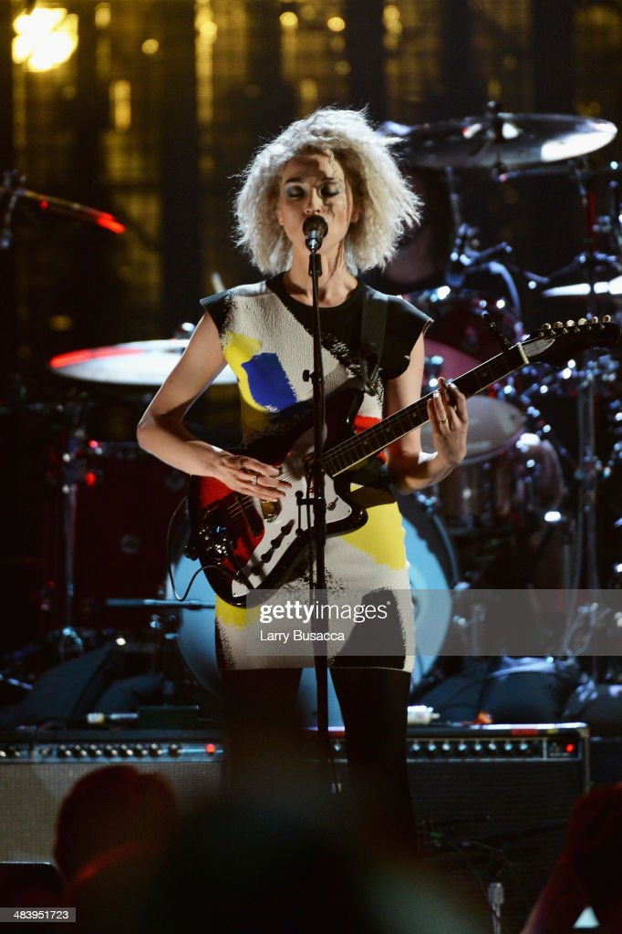 Musician St. Vincent performs onstage at the 29th Annual Rock And Roll Hall Of Fame Induction Ceremony at Barclays Center of Brooklyn on April 10, 2014 in New York City.