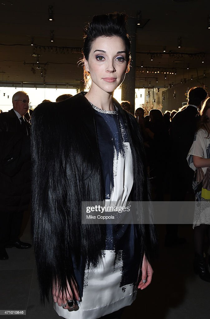 Musician St. Vincent, wearing Max Mara, attends the Max Mara celebration of the opening of The Whitney Museum Of American Art at its new location on April 24, 2015 in New York City.